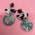 Triple layer black/white/green earrings