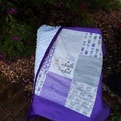 """WORTH THE WAIT""  PRAM MINKY BLANKET"