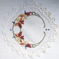 Autumn leaves round cut work embroidered Vintage Doily table mat linen