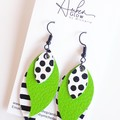 Spots & Stripes, Genuine Leather, Stacked Leaf Earrings Green
