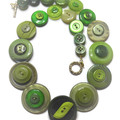 Green button necklace - Shades of Green