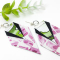 Botanical watercolour print canvas earrings