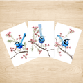 Splendid Blue Wren Art Prints Set of 3 A5
