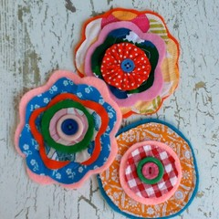 3 large handmade layered fabric flowers appliques embellishments sewing