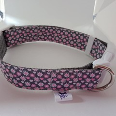 Pink and grey flower adjustable dog collar medium / large