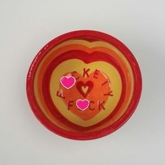 F*ckety F*ck bowl gift, unique handmade yellow red orange heart pattern gift
