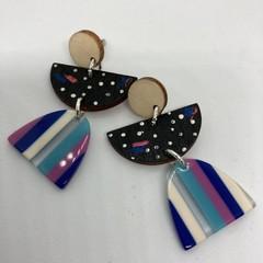 Triple layer purple/white/black/blue earrings