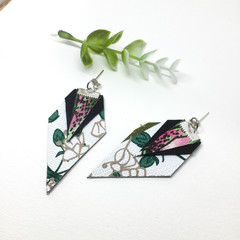 Botanical print canvas  earrings