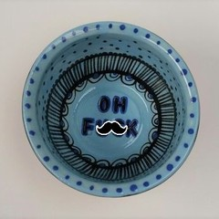 Oh F*ck bowl,  gift, unique handmade turquoise blue and black pattern gift
