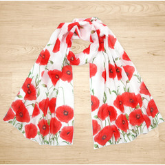 Red Poppy Flower Scarf