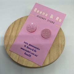 Glittery pink  circle chunky studs
