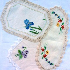 Set of 3 Vintage hand embroidered doilies with crochet edges