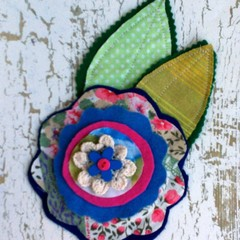 Large handmade layered fabric felt flower and leaves appliques embellishments