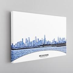 Melbourne Skyline Canvas Framed