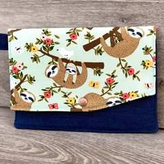 Ladies Fold Up Clutch - Sloth/Denim with keyring/clip attachment