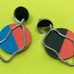 Neon geometric print earrings