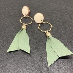 Triple layer olive  & heaxagon earrings