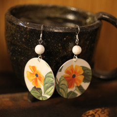 Botanical Earings with Howlite Bead