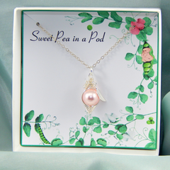 Sweet Pea Necklace,Peas In A Pod Necklace