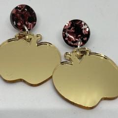 Gold mirror apple earrings