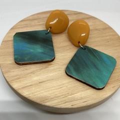 Mustard/blue-green  earrings