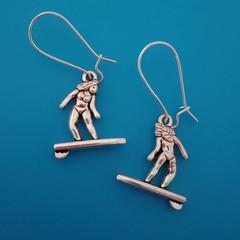 Silver surfer girl / surfing earrings
