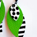Spots & Stripes, Genuine Leather, Stacked Leaf Earrings Green