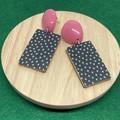 Black/white/pink  earrings