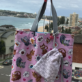 "Reversible: ""Cat in Love"" tote bag & pouch set"