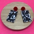 Black & white print earrings