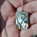 Paua Shell Sterling wrapped unisex pendant