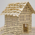 Tiny paper house and tree - Book art - Book sculpture - Altered books