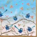 Splendid Blue Wren Tea Towel, Australian Bird Tea Towel, Tea Towels