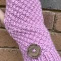 Pink merino handwarmers texting fingerless gloves winter