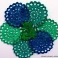 9 Crochet Cotton Doilies Vintage 70s Applique Lace Embellishment Coaster Runner