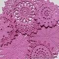 6 Pinky Mauve Hand Dyed Cotton Doily Applique Lace Embellishments Flowers Motifs