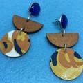 Triple layer orange/yellow/white/black earrings