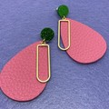 Faux leather pink & gold alloy earrings