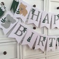 Australian Animal Happy Birthday Banner. Koala, Kangaroo, Wombat, Platypus.