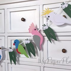 Australian Birds Garland. Birthday party, first birthday, baby shower banner.