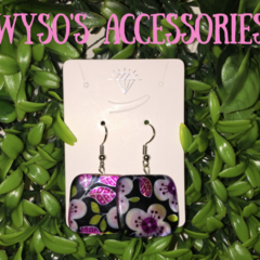 Floral Square Stone Earrings