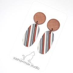 Ticking Stripe Oval Copper drop earrings