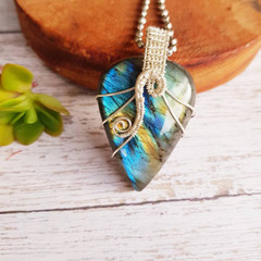 Labradorite statement pendant necklace jewellery sterling silver wire wrapped