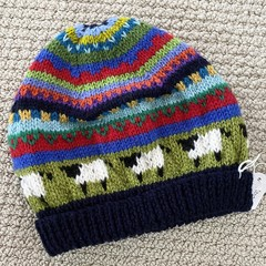Navy  sheep Beanie - to fit approx size 4-8 years -hand knitted