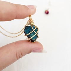 Peacock Ore pendant - Gold 45cm
