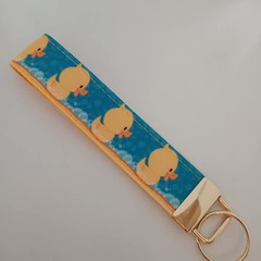 Blue and yellow duck print key fob wristlet