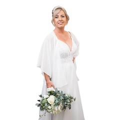 Chiffon Bridal Wrap - Sheer Wedding Dress Shawl & Scarf Ring Set (White)
