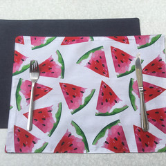 Watermelon Fabric Placemat with Denim