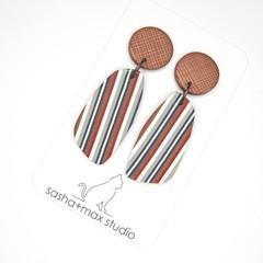Ticking Stripe Wedge Drop earrings