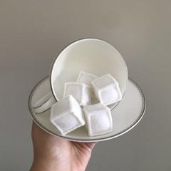 ice cubes, sugar cubes, felt playfood